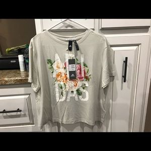Adidas new crop top tee size large.